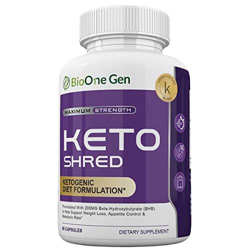 BioOneGen Keto Shred - Burn Fat Fast for Energy Hack - Beta BHB - Gluten Free - 30 Day Supply - 60 Capsules 1
