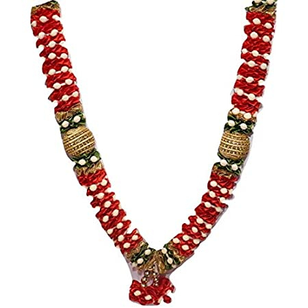 Reliable Garlands for Photo Frame OR MURTI Artificial Pearls, Beads, Stones, Satin Haar Decoration HANGINGS Home Decor, Temple Decor Size 11 inch