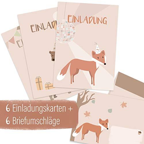 mintkind® Einladungskarten Set zum Kindergeburtstag für Jungen und Mädchen – Geburtstags-Einladung für Kinder im Wald Design | 6 Karten mit 3 Motiven + 6 passende Umschläge (Waldtiere)