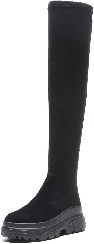 Nine Seven Woherrar mocka läder Round Toe Mid Mid Mid Heel Handgjort Back Zipper Comfort gående Dress Över Knee stövlar  högkvalitativa varor och bekväm, ärlig service