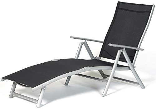 SunTime Aluminium Outdoor Garden Sun Lounger Folding Reclining with Multi Position