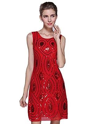BABEYOND1920s Great Gatsby Dress Sequin Party Dress Flapper Dress Art Deco Dress