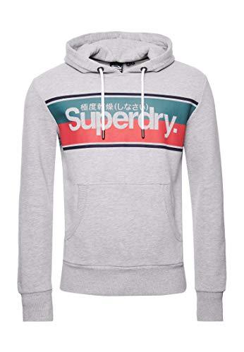 Superdry Herren Core Hoodie mit Streifen Grau Meliert M