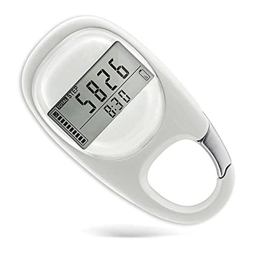 Podómetro Clip 3D Electrónico sin Aplicación y Teléfono móvil Memoria de 7 Días Podómetro Portátil Contador de Pasos de Podómetro Simple para Mujeres Hombres al Aire Libre