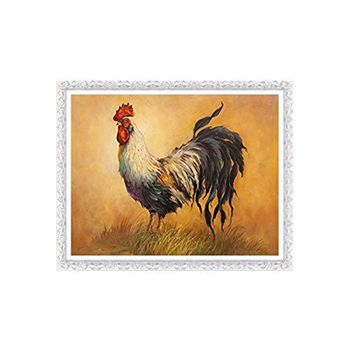 Kits de pintura de diamante para adultos, gallo, arte redondo 5D, perfecto para relajación y decoración de pared del hogar, 30 x 39,9 cm