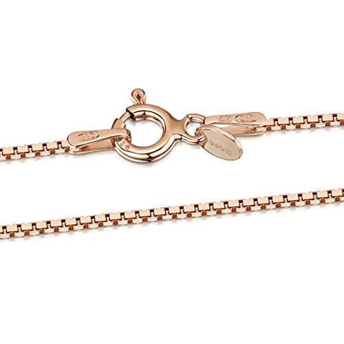 Amberta Catenina Collana da Donna in Argento Sterling 925 Placcato Oro Rosa da 14K Maglia Veneziana 1 mm: Lunghezza 50 cm