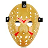 Jason Full Face Head PVC Hockey Mask Novelty Costume Party Horror Prop Halloween Festival Mask (Mellow Yellow)