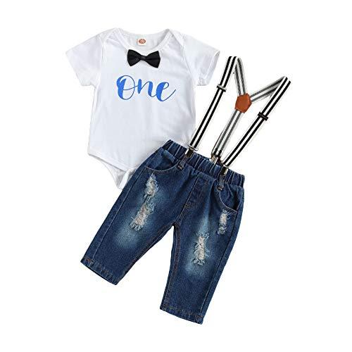YQYJA Conjunto de 1er cumpleaños para niños con estampado de letras y lazo de manga corta para mameluco con cinturón de mezclilla y pantalones largos
