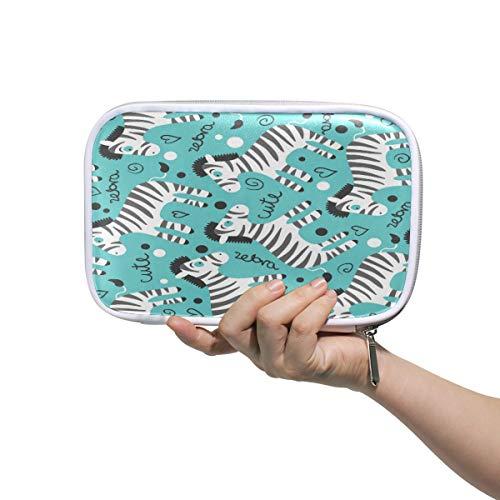 Lindo estuche escolar Zebras para lápices de papelería con forma de corazón, animales, cosméticos, bolsa de almacenamiento de oficina, bolsa de viaje para mujeres
