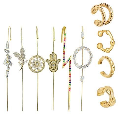 dili-bala 10 aretes de moda para orejas, aretes de gancho de oruga, pendientes para mujeres y niñas, trepador, piercing para cartílago, clip en pendientes, Aleación, Agate,