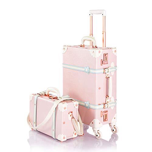 """スーツケースセット かわいい キャリーケース トランクケース アンティーク調 キャリーバッグ ダイヤルロック搭載 スーツケースカバーと収納袋付き 軽量・4輪静音 出張 修学旅行用 (XS型(13\"""")&S型(20\""""機内持込), ピンク"""