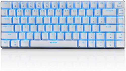 Ajazz Ak33 Geek RGB Mechanical Keyboard, 82 Keys Layout, Blue Switches, 18 Types Led Backlit, Aluminum Portable Gaming Keyboard, R5 Ergonomic Button Style,for Games and Daily (White/Black Bhaft)