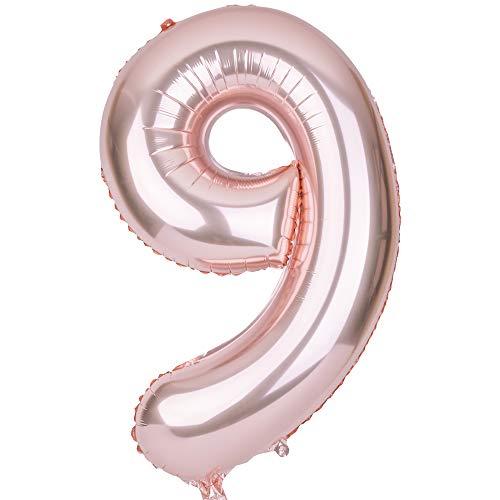 SMARCY Palloncino Gonfiabile Numero 9 Palloncini Compleanno 9 Anni Decorazioni Compleanno Bimbo Oro Rosa