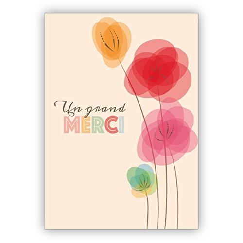 1 Elegante französische Retro Blumen Dankeskarte: Un grand merci • schöne Dankes Grußkarte mit Umschlag, geschäftlich & privat