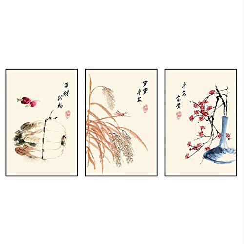 Triptychon Leinwand Puzzle 3 Stück Chinakohl, Reis, Blumen Moderne Frische Triptychon Bilder Wohnzimmer Schlafzimmer Dekorative Gemälde Niedlich Ölgemälde Portfolio-D1