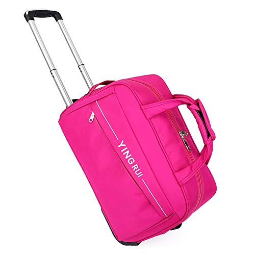Adlereyire Trolley Bag 36-55 Liters,Lightweight and Waterproof Roller Bag Holdall with Wheels Functional Cabin Luggage Bag for Laptops up to 17' (Color : Rose-red, Size : 20-inches)