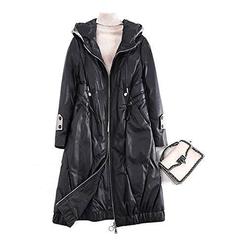 GHBBV Damen-Daunenjacke aus Schaffell mit losem Leder mit Kapuze Mittellanger Ledermantel XL