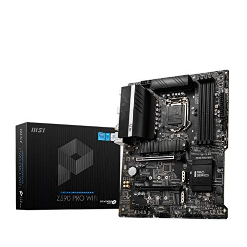 Scheda Madre MSI Z590 PRO WIFI ATX - Supporta processori Intel Core 11th Gen, LGA 1200 - 12 Duet Rail 55A VRM, DDR4 Boost (5333MHz/OC), PCIe 4.0 x16, 3x M.2 Gen4/3 x4, 4K/60Hz HDMI, 2.5G LAN, Wi-Fi 6E