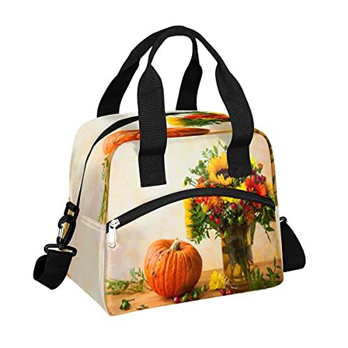 MOMOYU - Bolsa de almuerzo con diseño de girasoles para otoño y calabaza, bolsa de almuerzo reutilizable con correa de hombro ajustable para la escuela, playa, trabajo, deporte, viajes