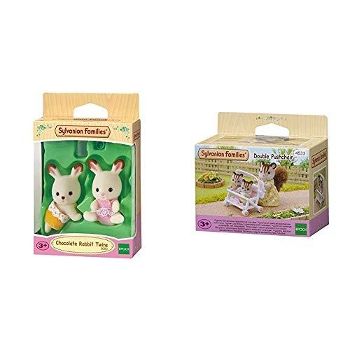 SYLVANIAN FAMILIES Chocolate Rabbit Twins Mini muñecas y Accesorios, (Epoch para Imaginar 5080) + 4533 Carrito para Gemelos [Importado de Alemania]