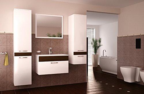 SAM 4tlg. Badmöbel Set 55 in Sonomaeiche dunkel/weiß, bestehend aus Spiegel, Waschplatz, Hochschrank, Midischrank