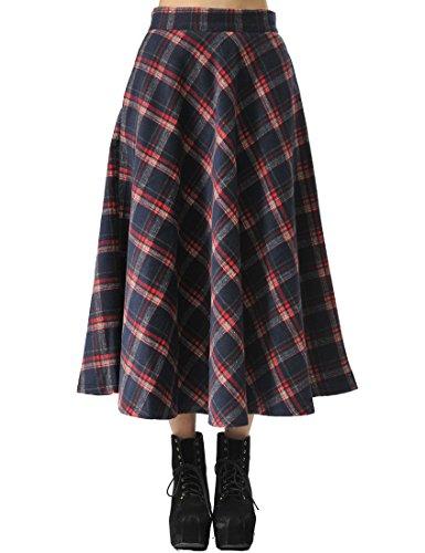 TEERFU Falda de cintura alta para mujer, estilo vintage, plisada, una línea acampanada, patinador, longitud a la rodilla, vestido midi con bolsillos