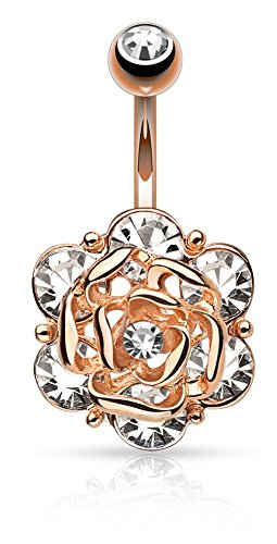 Pierced Owl Flower Head with Gems CZ 316L 14GA Navel Belly Ring - Choose Silver Tone, Gold Tone, or Rose Gold Tone (Rose Gold Tone)