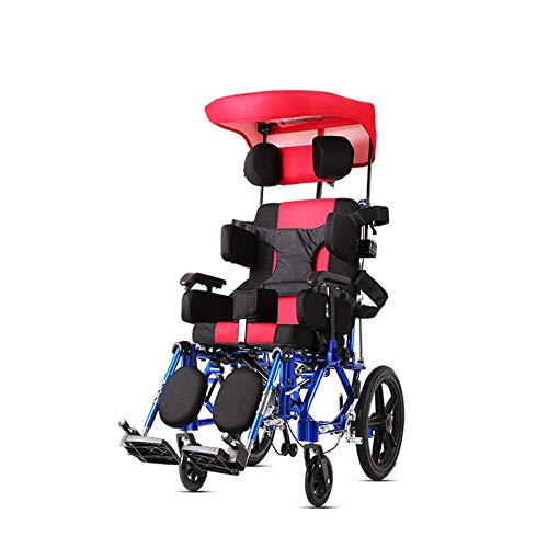 IOFESINK Walker Chair Wheelchair Silla de Ruedas Multifuncional for niños, Media Mentira, tumbada, parálisis Cerebral, hemipléjica, Silla de Ruedas de Aluminio for