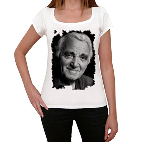 Charles Aznavour, La Camiseta de Las Mujeres, Manga Corta, Cuello Redondo, Blanco