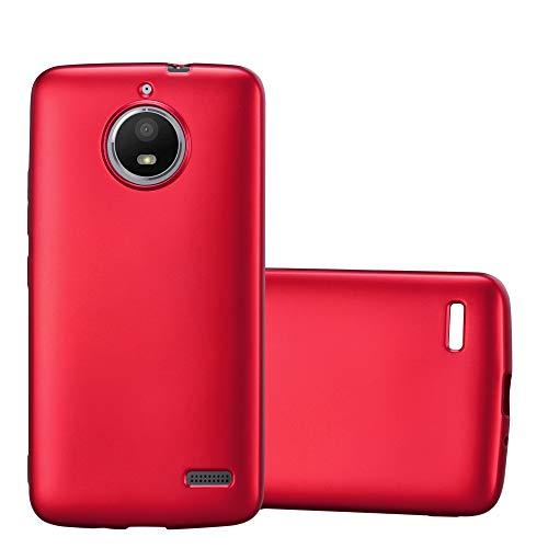 Cadorabo Hülle für Motorola Moto E4 - Hülle in METALLIC ROT – Handyhülle aus TPU Silikon im Matt Metallic Design - Silikonhülle Schutzhülle Ultra Slim Soft Back Cover Case Bumper