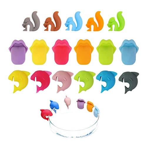 AMACOAM Glasmarkierer Silikon Glasmarker Teebeutelhalter Shark Lippen Eichhörnchen Form Wiederverwendbare Glass Marker Party Weinglas Marker Trinkglas Markierung für Zuhause Bar Party Hochzeit 17 Pcs