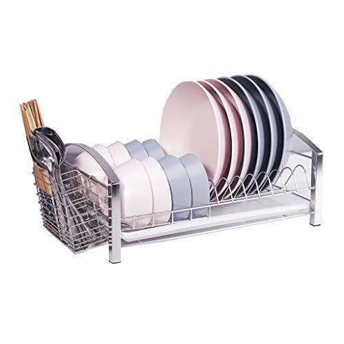 Égouttoir à vaisselle Acier inoxydable 304 égouttoir à vaisselle en acier inoxydable, étagère de rangement, grille de séchage de la vaisselle, grille de cuisine avec cages et plateau à baguettes (41 ×