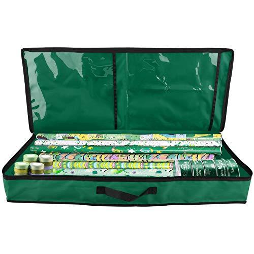 Keebgyy Sac de rangement pour rouleaux de papier cadeau avec 2 poches transparentes