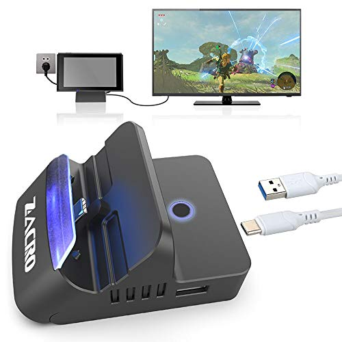 Zacro Switch Dock Base Portátiles,Bluetooth Audio,2K HDMI,Type-C a USB 3.0 y 2.0,Múltiples Ángulos,Refrigeración,Botón Interruptor Doble Modos Válido para Switch