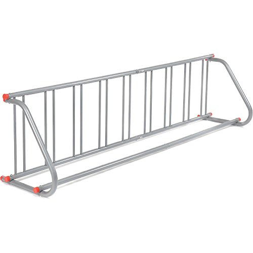 Global Industrial 111' L All-Steel Grid Rack - 9 Bikes - Galvanized Finish with Riveted Grid Poles