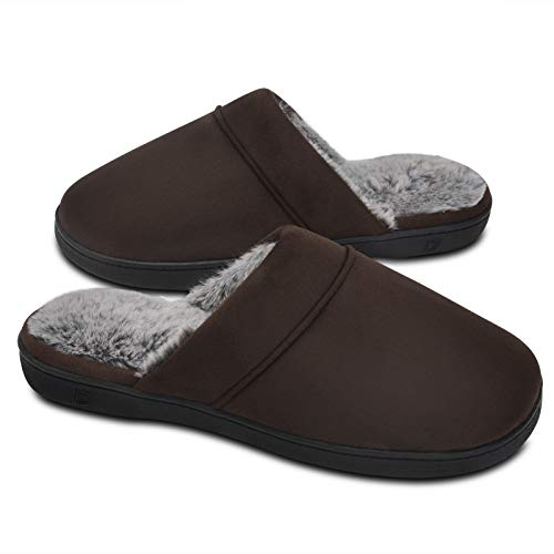 DL Men's Memory Foam Slippers with Fuzzy Plush Lining, Slip on House Slippers with Indoor Outdoor Anti-Skid Rubber Sole