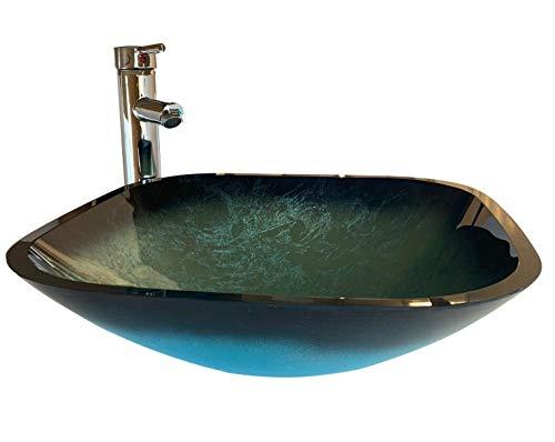 Home Supplies - Lavabo de Cristal Templado para Cuarto de baño, Lavabo + Grifo + desagüe + Trampa de plástico para Botellas