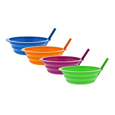 Arrow Sip-A-Bowl With Built In Straw, 22 oz, Blue, Pink, Green, Orange (4 Pack)
