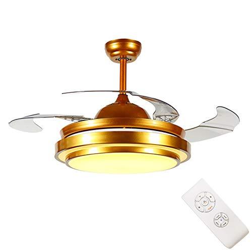 LED invisible ventilador de techo luz, moderna Ventilador de techo Lámpara de techo con luz Y mando a distancia ventilador Luz de Techo-aspas Reversibles Plafones dormitorio Iluminación de techo,Gold