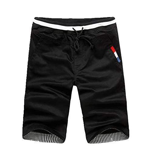 N\P Pantalones cortos casuales de los hombres de verano de los hombres de cintura elástica pantalones cortos hasta la rodilla de algodón de los
