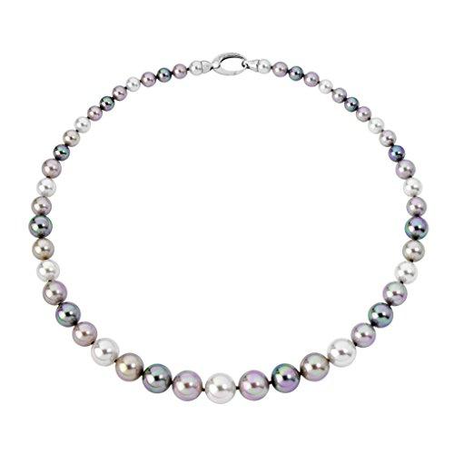 Majorica Halskette 45cm lang in rhodiniertem Sterling Silber 925, 6/12mm runde mehrfarbige Perlen, LFYM8426881530139