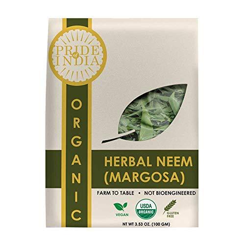 Pride Of India - Organic Neem/Margosa Herb, 100 gm Whole Leaf