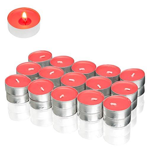 Candelo - Juego de 30 velas aromáticas de alta calidad, aroma de manzana y canela, en carcasa de aluminio, 3,5 x 1,8 cm, 4 horas de combustión, velas de té