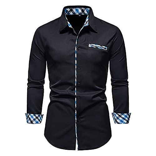Camisa Delgada de Manga Larga para Hombre, Moda con Costuras de Color en Contraste, Cuello de Solapa clásico,...