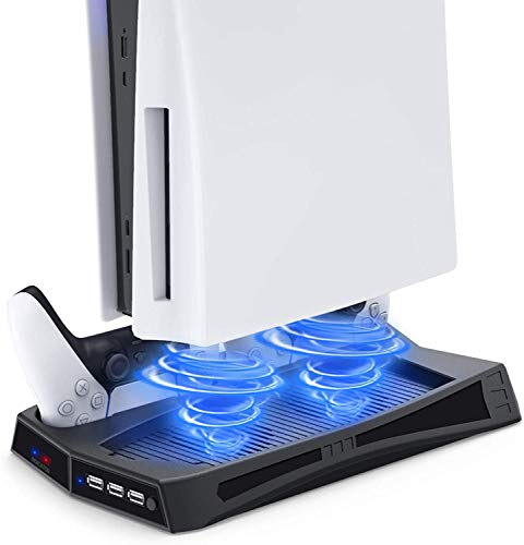 Vertical Stand with Cooling Fan for PS5 Console and Playstation 5 Digital Edition, Dual Controller Charging Station with 3 USB Hub for DualSense 5