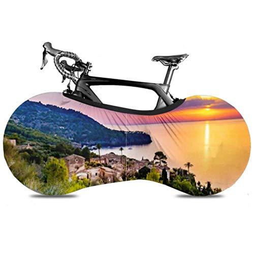 Cubierta de rueda de bicicleta Hermosa puesta de sol Costa Mallorca Isla España Antipolvo Bicicleta Bolsa de almacenamiento en interiores Paquete de neumáticos de alta elasticidad lavable y resisten