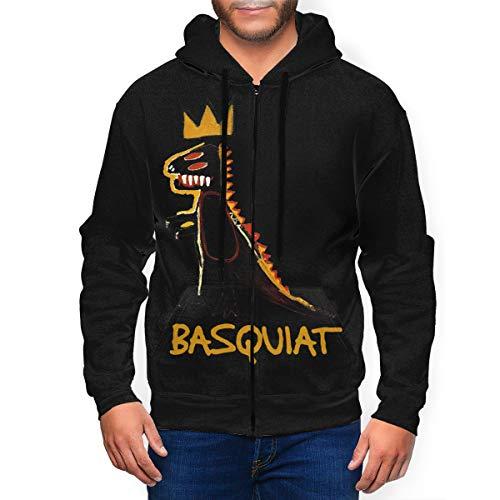 WilliamWButler Jean Michel Basquiat Hoodie Mens Casual Full Zip Long Sleeves Jacket Pullover Sweatshirts Black