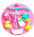 KIRALOVE Silikonform - Giraffe - Baby - brosche - zubehör - küche - Ente - babyflasche - bär - Fondant - Herz - zuckerpaste - lebensmittelgebrauch - originelle Geschenkidee - Kuchen - Baby Baby