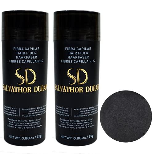 Fibres Capilaires Salvathor Duran 25 grammes – Pack Duo - Fibre de Cheveux (Noir)