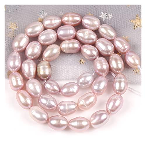 GuanRo Damas exquisitas Joyas de Regalo Bricolaje Collar Pulsera Natural Natural Freshwater Pearl Beads Brillantes en Forma de arroz Perforados Perlas Sueltas